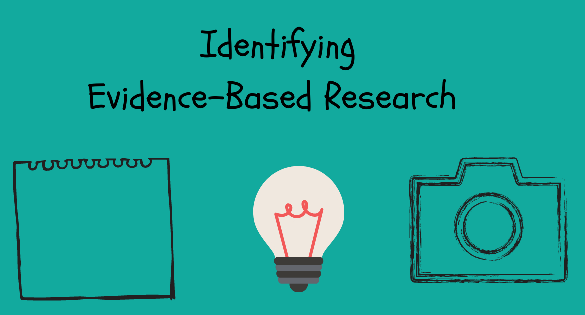 The words 'Identifying Evidence-Based Research' are written above a picture of a note-pad, a light bulb and a camera. These are all set against a green background.